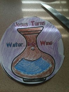 Jesus Turns Water into Wine Craft for Sunday School Bible Story Crafts, Bible School Crafts, Bible Crafts For Kids, Preschool Bible, Bible Lessons For Kids, Bible Activities, Bible Stories, Church Activities, Sunday School Projects