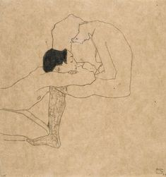Egon Schiele - Lovers, c.1909. Pencil and coloured crayon on paper, 31.5 x 29.5 cm.