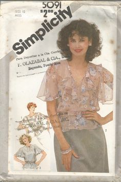 Vintage Simplicity Factory Folded  Set of Flutter Sleeve Blouses Pattern 5091 Size 12 Bust  34 circa 1981 by EvaStAlbans on Etsy