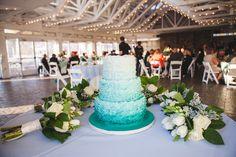 The Boathouse Wedding at Sunday Park   Richmond, VA   Jessica   Anthony  ombre wedding cake, teal wedding, pavilion wedding, bouquets on cake table