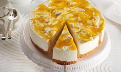 Eine kleine, erfrischende Torte mit Quark- und Mangofüllung