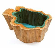 Prachtige houten tafel met rivier van glas - EYEspired