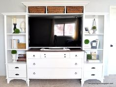 Turning an old dresser and bookshelves into a media center