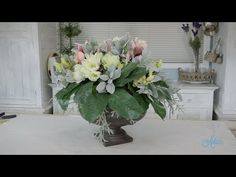 Floristry Tutorial: Elongated Rose & Lily Wedding Table Centerpiece - YouTube