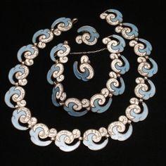Margot de Taxco Set Necklace Bracelet Earrings Sterling Silver Enamel Vintage | eBay