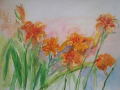 """""""Orange Lilies"""" by Emma Kaufmann, Baltimore, MD //  // Imagekind.com -- Buy stunning fine art prints, framed prints and canvas prints directly from independent working artists and photographers. #lilies #flowers #prints #art #watercolor"""