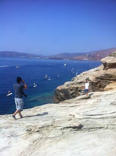 Photographers in action. Andros, Greece
