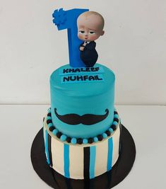 A Boss Baby themed cake for Khaleef Nuhfail Baby Cakes, Baby Cake Smash, Baby Shower Cakes, Baby Birthday Themes, Baby Birthday Cakes, Boy Birthday, Baby Movie, Cake Online, Boss Baby