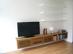 Floating Media Cabinet and Shelves contemporary-living-room