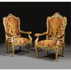 A fine and rare pair of Italian Rococo giltwood armchairs Genoa, circa 1740