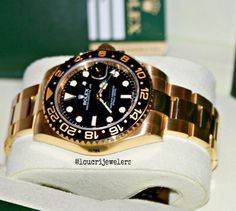 Rolex GMT Master II 18K Solid Yellow Gold Watch ‼️ Contact Loucri Jewelers for this and other Luxury Time Pieces. Email sales@loucri.com or call ☎️☎️☎️ 516 960 7757 ‼️
