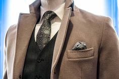 Keep warm in SAND  Tan overcoat, tie, white button up shirt with vest and pocket square