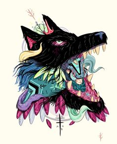 Project By nijah lefevre stickers Digital Art, Illustration, Street Art Wolf Illustration, Graphic Design Illustration, Illustrations And Posters, Art Images, Sculpture Art, Concept Art, Street Art, Character Design, Collage