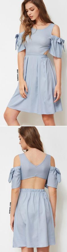 Open Shoulder Bow Tie Detailed Cut Out Dress