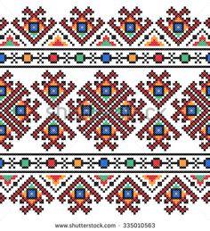 embroidered good like old handmade cross-stitch ethnic Ukraine pattern Cross Stitch Geometric, Beaded Cross Stitch, Cross Stitch Rose, Modern Cross Stitch Patterns, Cross Stitch Flowers, Cross Stitch Charts, Cross Stitch Designs, Cross Stitch Embroidery, Embroidery Patterns