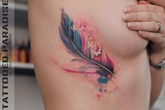 Tattoo Feather (colour) with butterfly cutouts silhouettes
