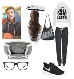 """""""Chill day with Cameron Dallas"""" by jocelynalcala on Polyvore featuring Topshop, WearAll, NIKE, Pin Show, Ray-Ban, Lord Lou, women's clothing, women, female and woman"""