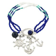 Ahoy there, Sailor! You'll be charmed with this nautical themed bracelet. Comfortably fits a 7 inch wrist. Anchor and Wheel Seed Beads / Silver Plated / Lead C