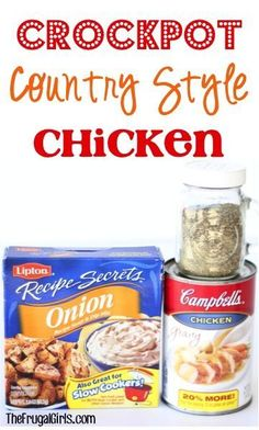 Craving a delicious home-cooked meal with hardly any effort? You'll LOVE this easy Crockpot Country Style Chicken Recipe! Crock Pot Food, Crockpot Dishes, Crock Pot Slow Cooker, Slow Cooker Recipes, Crockpot Recipes, Chicken Recipes, Cooking Recipes, Crock Pots, Cooking Pasta
