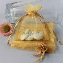 50 pçs/lote Forte Ouro Sheer Organza Favor Do Casamento Bolsa de Jóias Saco de Doces Do Presente Do Partido Do Evento Suprimentos(China (Mainland))