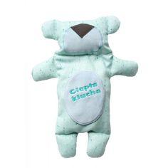 Pluszowy Miś Termofor dla Dzieci Boska's Teddies cierpiących z powodu bólu brzuszka. W środku misia umieszony jest woreczek z pestkami wiśni. Miś Termofor Idealny na Kolkę
