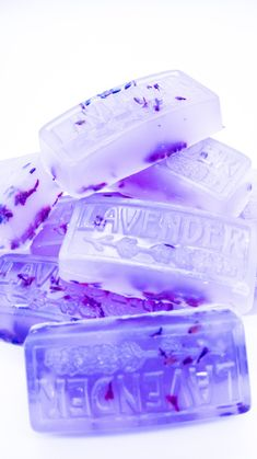 Organic Bar Soap 3 Pack, Homemade with Glycerin and Lavender Essential Oil, Lavender Buds Added to Soaps!