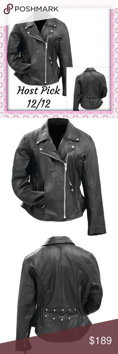 """HP Ladies' Buffalo Leather Motorcycle Jacket 1XL RETAIL BRAND New: Rocky Mountain Hides™ Ladies' Solid Genuine Buffalo Leather Motorcycle Jacket  Features 2 zippered exterior pockets; 2 interior pockets; gathered sides; silver-tone hardware; snap-down collar and lapel; and full lining  1XL Chest 39"""" Should to Shoulder 18 1/2"""" Sleeve 24"""" Total  Length 24"""" Rock Mountian Hides Jackets & Coats"""