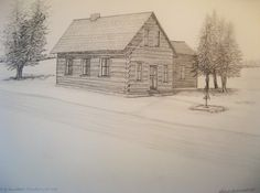 Bartz Homestead, Mountain, Wi. As it originally appeared. Now Log Home Museum, Mountain, WI. Graphite on paper, 18x24