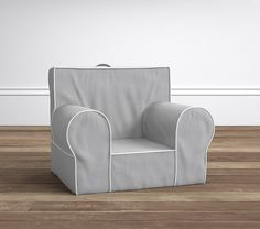 Gray with White Piping Anywhere Chair | Pottery Barn Kids -- Personalization: 'Teddy'