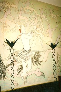 Jean Cocteau wall mural - Marriage Room -City Hall -  Menton - France