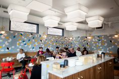 Handmade tile for the Bachelor Farmer Cafe in the North Loop of downtown Minneapolis.  Large Diamonds – 11 Deco White, 60 Silver Lining, 24 Dandelion, 45R My Blue Heaven, 18 Bright Blue, 61 Navy, 366 Satin Black  Large Diamonds – 11 Deco White