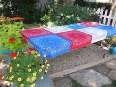 Red, White, and Blue Bandana Tablecloth....perfect for any summer picnic and celebration! Memorial Day, 4th of July or Western Bar-B-Q!!    This