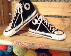 ATTN: THIS LISTING IS FOR A PDF PATTERN, NOT THE READY PRODUCT!  You can finally wear your favorite Converse in Bed!  This listing is for sizes US 6-11 (EU 36-41) WOMEN and for sizes US 5-10 (EU 37-43) MEN  This converse slippers PDF pattern will guide you through creating a pair of your very own stylish slippers. Its fun, interactive and easy!  Available as a digital download, it features explicit directions combined with step by step photos and useful links making it a perfect pattern even…