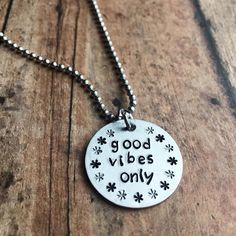 Inspirational Quote Necklace Personalized Necklace - Statement Necklace - Motivational Quote - Graduation Jewelry - Good Vibes Only Necklace by ImpressionsWorld on Etsy
