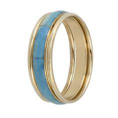 Bracelete dourado 3 peças pedra sintética azul