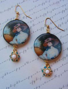 Lady in a Fancy Hat No. 2decoupage earrings by MarteenysJewelry, $16.00
