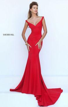 2017 Red Plunging V Neckline Sleeveless Sherri Hill 50441 Open Back Long Satin Evening Dresses