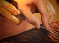 """Artisan Medium: Oil on canvas Dimensions: 40"""" x 30"""" by Spray A portrait, in a way, of my brother crafting his artwork. Owned by Seventh Day Adventist University."""
