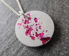 Pink glitter necklace  concrete necklace  hot pink necklace