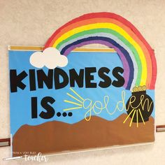 Bulletin Board Ideas for the Elementary Classroom – Tales From a Very Busy Teacher Kindness Lessons for the Elementary Classroom Rainbow Bulletin Boards, Elementary Bulletin Boards, Teacher Bulletin Boards, Elementary Schools, Elementary Teacher, Kindness Bulletin Board, Growth Mindset For Kids, Kindness Activities, Kindness Ideas