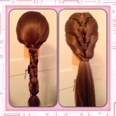 Braided ponytail style on left. Topsy tail styling on right. Updo.
