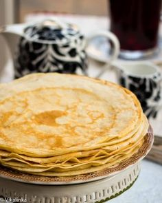Blini-- I miss my Russian family making these on Sundays. I'm going to try this recipe (I have never been good at eyeballing it like they do)  3 cups flour, 3 1/2 cups buttermilk, 1/2 cups water, 2 large eggs, 1/2 tsp baking soda, 1 tbsp sugar, 1 tsp salt