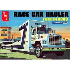 This truck model kit of a Ford LN 8000 Race Car Hauler is made by AMT in 1/25 scale. Brand new in a sealed box. Cat Fuel injected diesel engine Heavy Duty frame Ford's linehaul cockpit console Fuel ta