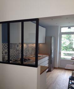 Porte coulissante vitr e atelier 204x73 cm leroy merlin for Cuisine ouverte baie vitree