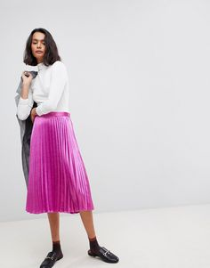 e7a605da4f35  veromoda  cloth   Pink Pleated Midi Skirt