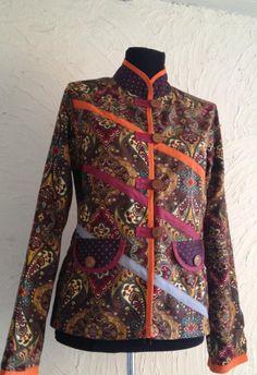 Şal desen sonbaharlık kısa ceket