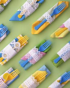 Got an assortment of paper napkins left over from parties past? To make a hodgepodge look festive -- and coordinated -- add a white doily band. Fold two napkins together. Cut a strip from a round or square paper doily; for a band that's lacy on both edges, accordion-fold a small doily in the middle. Wrap it around napkin; tape at back. Tuck in a plastic fork.