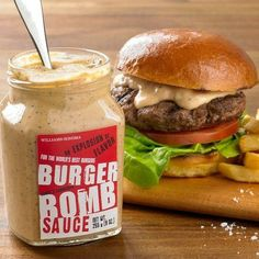 Burger Bomb Sauce is AMAZING! It's a blend of mayo, dill pickles, ketchup, Worcestershire, spicy brown mustard and spices, and it's unbelievable on burgers or as a dipping sauce!! From Williams & Sonoma