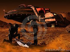 Two astronauts arrived on the planet Mars, discovering on the ground  the rests of the skull of an animal.