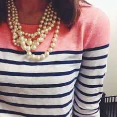Stripes + pearls